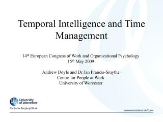 Temporal Intelligence and Time Management