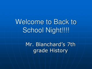 Welcome to Back to School Night!!!!