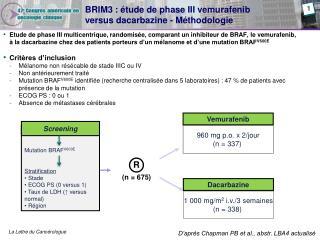 BRIM3 :  tude de phase III vemurafenib  versus dacarbazine - M thodologie