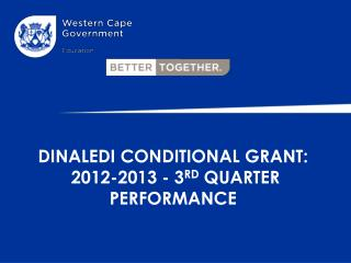 DINALEDI CONDITIONAL GRANT:  2012-2013 - 3 RD  QUARTER PERFORMANCE