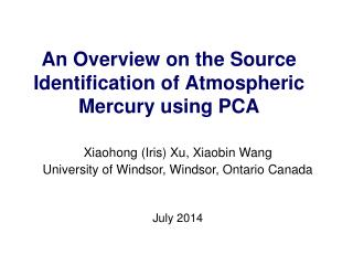 An  Overview  on the  Source Identification of Atmospheric Mercury using PCA