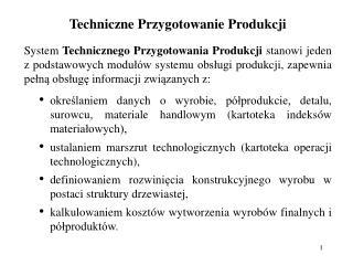 Techniczne Przygotowanie Produkcji