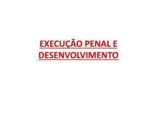 EXECU��O PENAL E DESENVOLVIMENTO