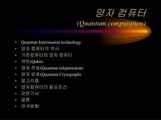 양자 컴퓨터 (Quantum computation)