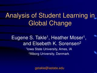 Analysis of Student Learning in Global Change