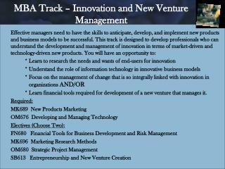 MBA Track – Innovation and New Venture Management