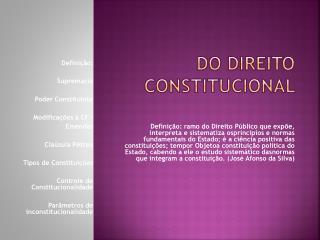 DO DIREITO CONSTITUCIONAL