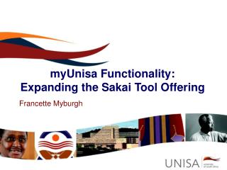 myUnisa Functionality: Expanding the Sakai Tool Offering