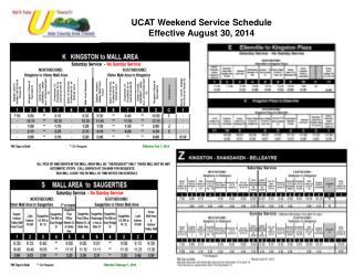 UCAT Weekend Service Schedule Effective August 30, 2014
