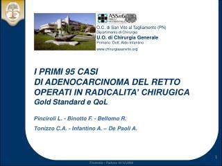 I PRIMI 95 CASI DI ADENOCARCINOMA DEL RETTO OPERATI IN RADICALITA' CHIRUGICA Gold Standard e QoL