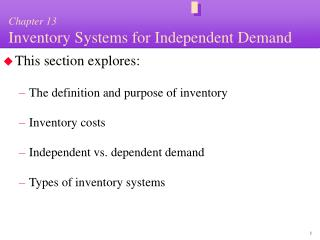 Chapter 13 Inventory Systems for Independent Demand