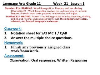 Language Arts Grade 11              Week   21 Lesson 1