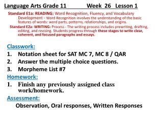 Language Arts Grade 11              Week   26    Lesson 1