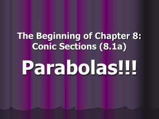 The Beginning of Chapter 8: Conic Sections (8.1a)