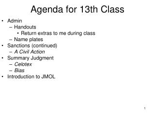 Agenda for 13th Class