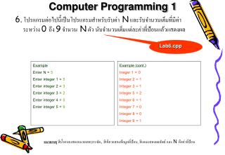 Example Enter N =  5 Enter integer 1 =  5 Enter integer 2 =  3 Enter integer 3 =  2