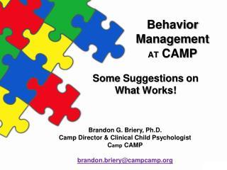 Behavior  Management at  CAMP