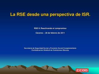 La RSE desde una perspectiva de ISR. RSE II: Reactivando el compromiso