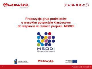 Propozycje grup podmiotów o wysokim potencjale klastrowym do wsparcia w ramach projektu MSODI