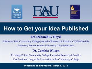 Presented at Innovations, March 6, 2012