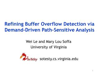 Refining Buffer Overflow Detection via Demand-Driven Path-Sensitive Analysis