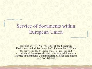 Service of documents within European Union