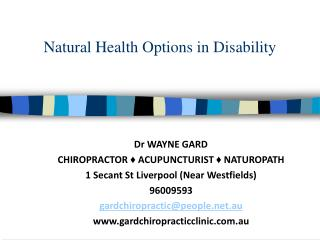 Natural Health Options in Disability