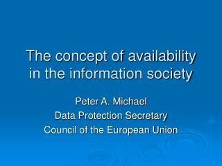 The concept of availability in the information society