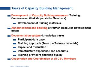 Tasks of Capacity Building Management