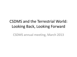 CSDMS and the Terrestrial World: Looking Back, Looking Forward