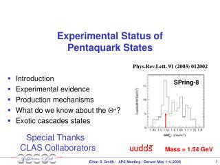 Experimental Status of  Pentaquark States