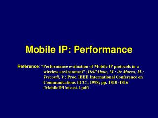 Mobile IP: Performance