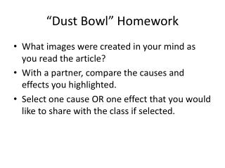 """Dust Bowl"" Homework"