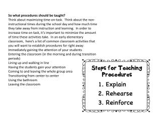 So what procedures should be taught?
