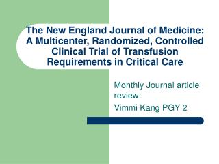 Monthly Journal article review: Vimmi Kang PGY 2