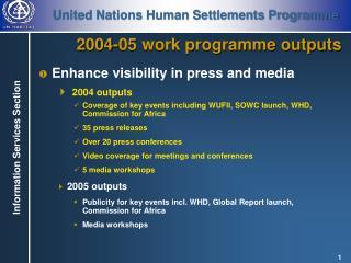 2004-05 work programme outputs