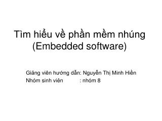 Tìm hiểu về phần mềm nhúng (Embedded software)