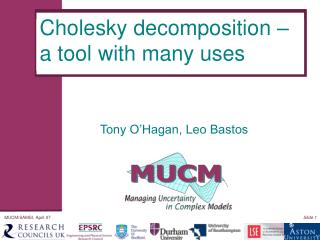 Cholesky decomposition – a tool with many uses