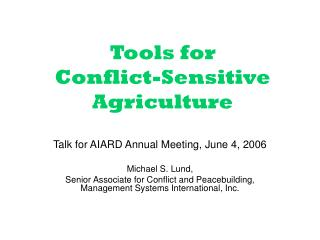 Tools for  Conflict-Sensitive Agriculture