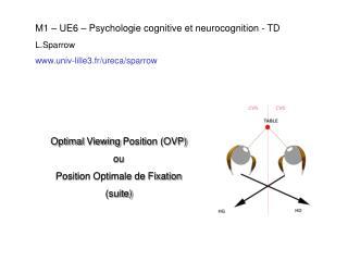 M1 – UE6 – Psychologie cognitive et neurocognition - TD