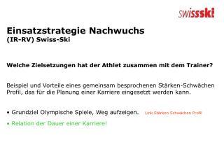 Einsatzstrategie Nachwuchs  (IR-RV) Swiss-Ski