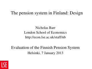 The pension system in Finland: Design