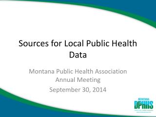 Sources for Local Public Health Data
