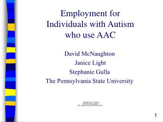 Employment for   Individuals with Autism  who use AAC