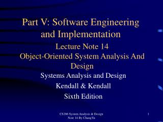 Lecture Note 14 Object-Oriented System Analysis And Design