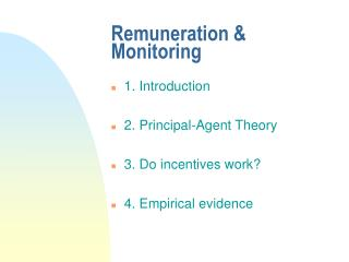 Remuneration & Monitoring