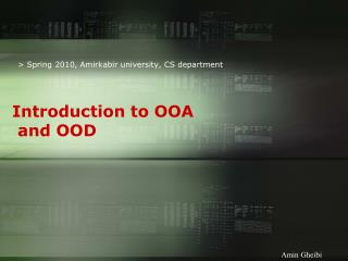 Introduction to OOA  and OOD