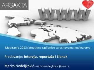 Mapiranje 2013 : kreativne radionice sa osnovama novinarstva