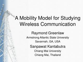 A Mobility Model for Studying Wireless Communication