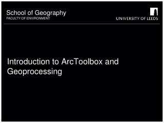 Introduction to ArcToolbox and Geoprocessing
